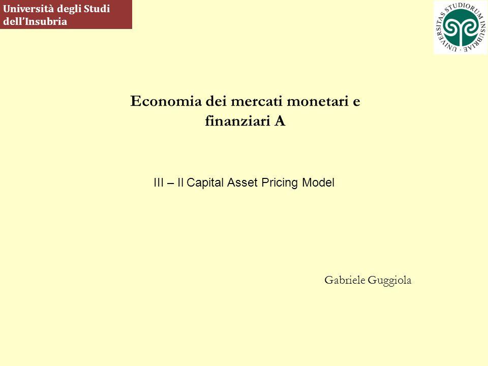 Economia dei mercati monetari e finanziari A