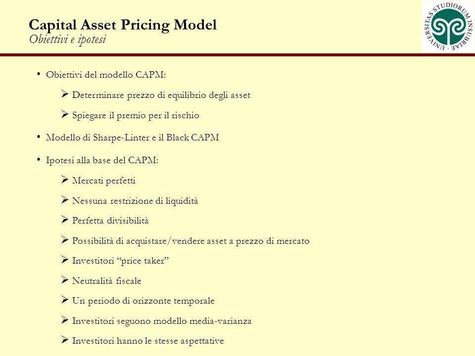 Capital Asset Pricing Model Obiettivi e ipotesi