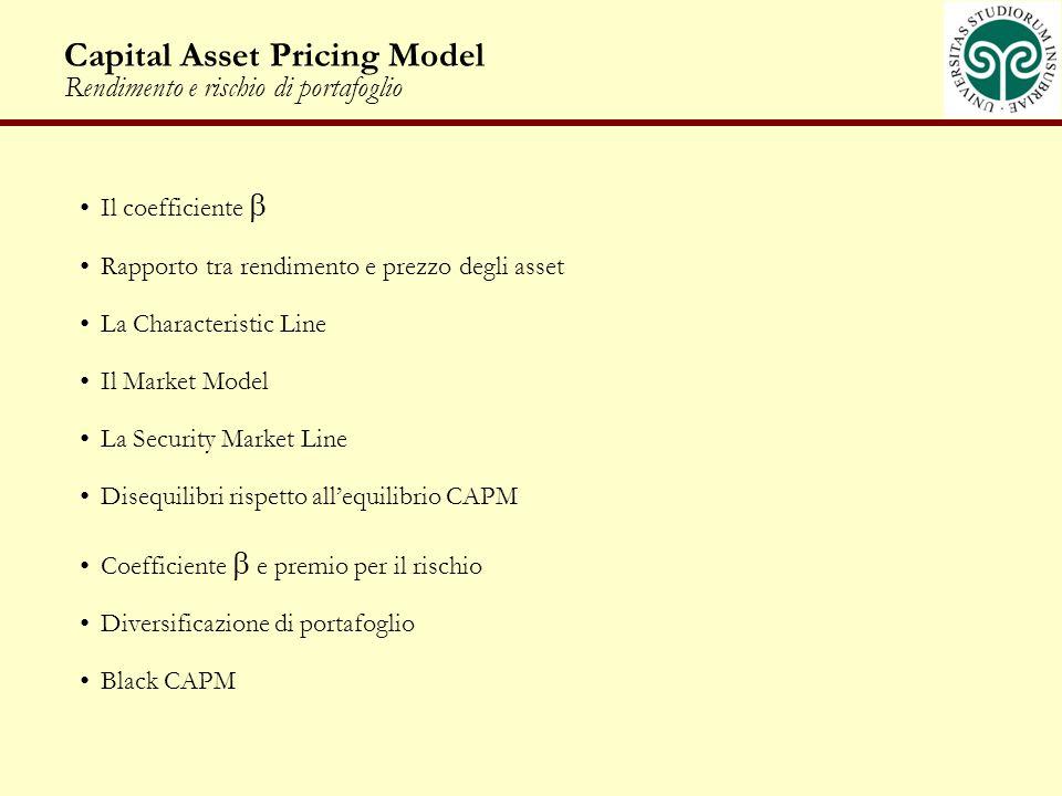 Capital Asset Pricing Model Rendimento e rischio di portafoglio
