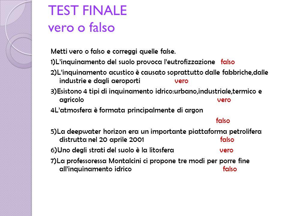 TEST FINALE vero o falso