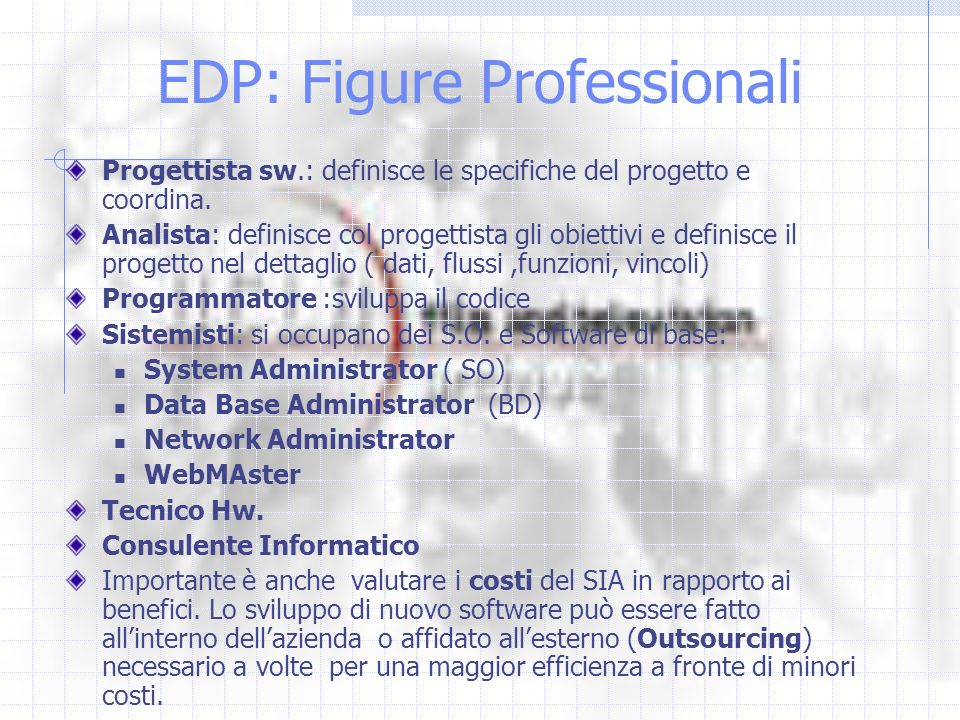 EDP: Figure Professionali