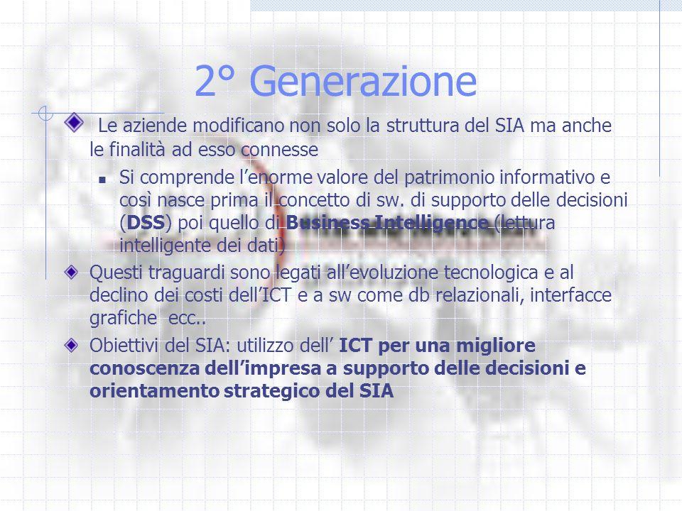 2° Generazione Le aziende modificano non solo la struttura del SIA ma anche le finalità ad esso connesse.