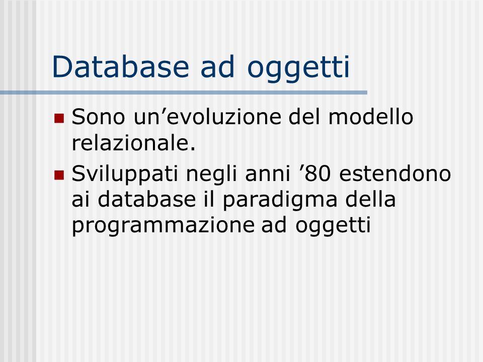 Database ad oggetti Sono un'evoluzione del modello relazionale.