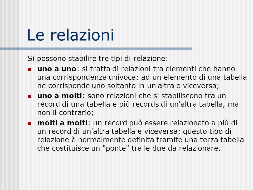 Le relazioni Si possono stabilire tre tipi di relazione: