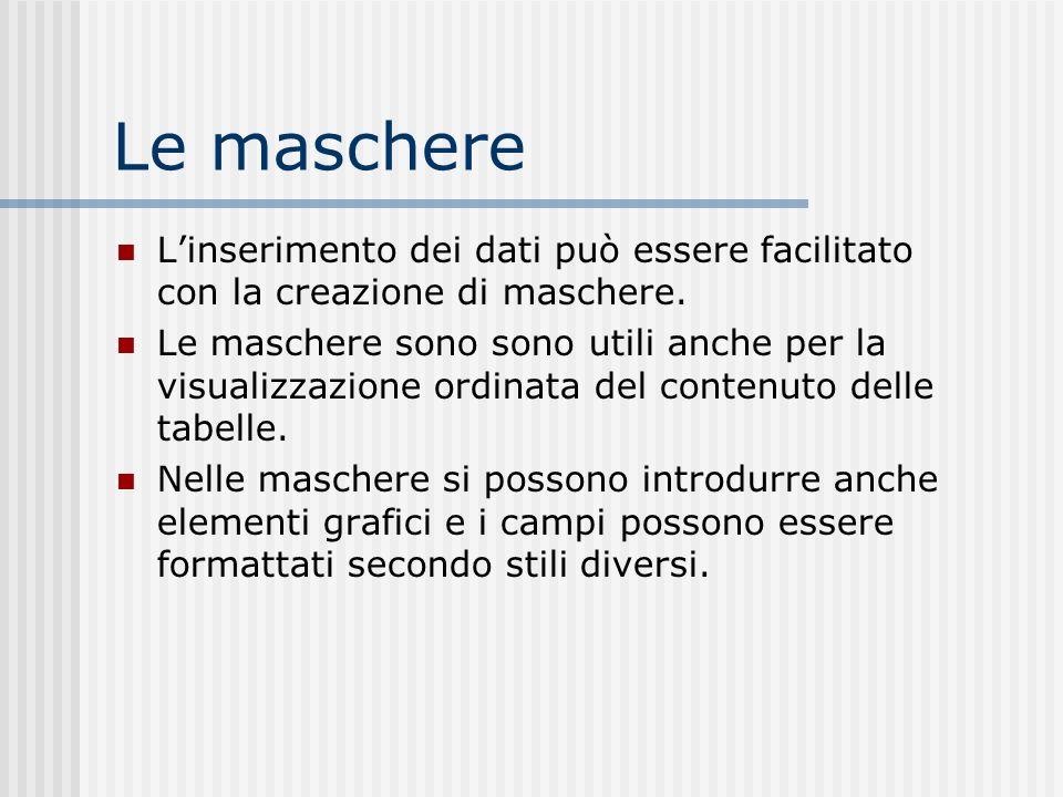 Le maschere L'inserimento dei dati può essere facilitato con la creazione di maschere.