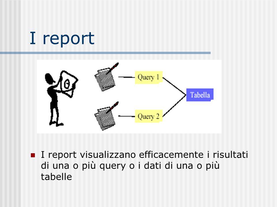 I report I report visualizzano efficacemente i risultati di una o più query o i dati di una o più tabelle.
