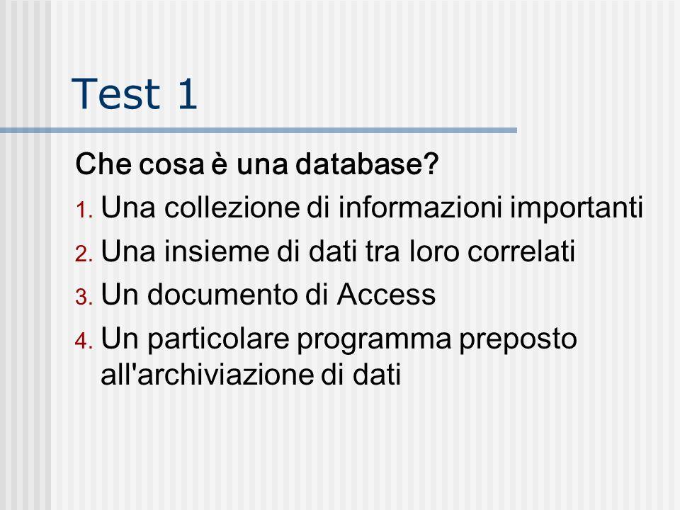 Test 1 Che cosa è una database