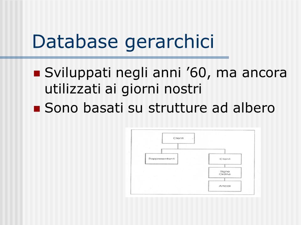 Database gerarchici Sviluppati negli anni '60, ma ancora utilizzati ai giorni nostri.
