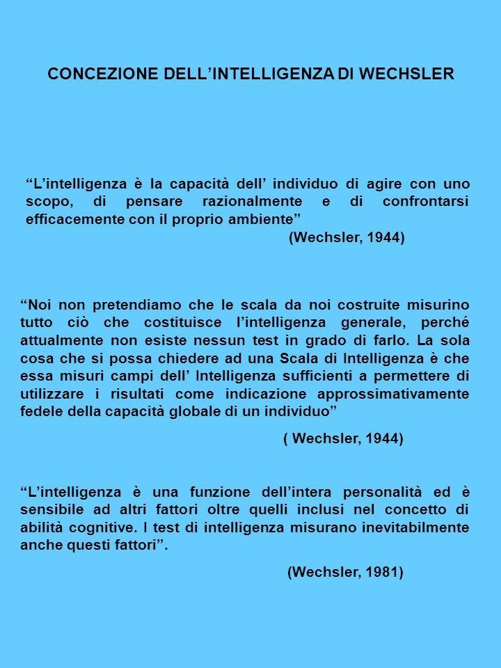 CONCEZIONE DELL'INTELLIGENZA DI WECHSLER