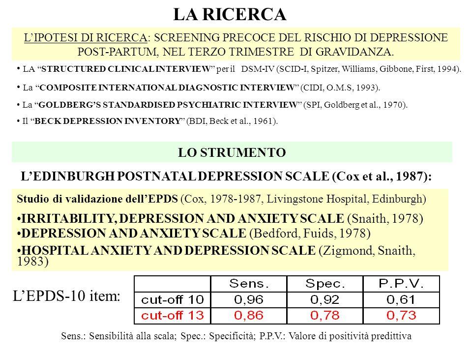 LA RICERCA L'EPDS-10 item: LO STRUMENTO