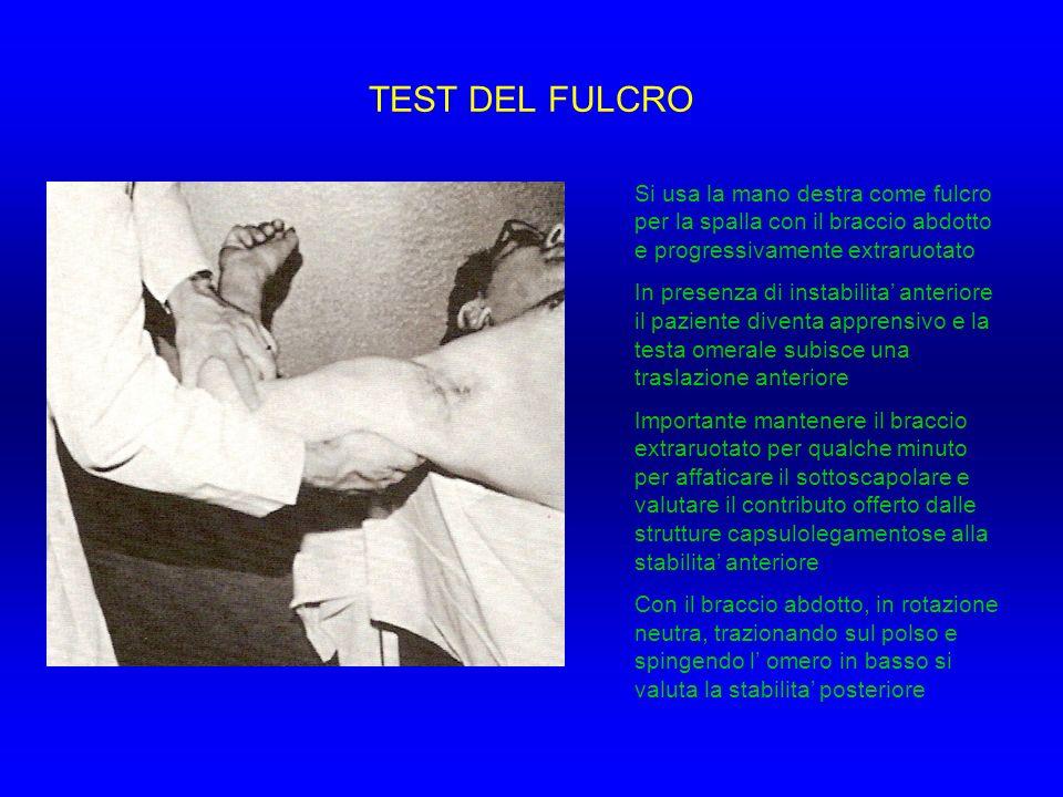 TEST DEL FULCRO Si usa la mano destra come fulcro per la spalla con il braccio abdotto e progressivamente extraruotato.
