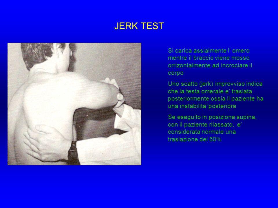 JERK TESTSi carica assialmente l' omero mentre il braccio viene mosso orrizontalmente ad incrociare il corpo.