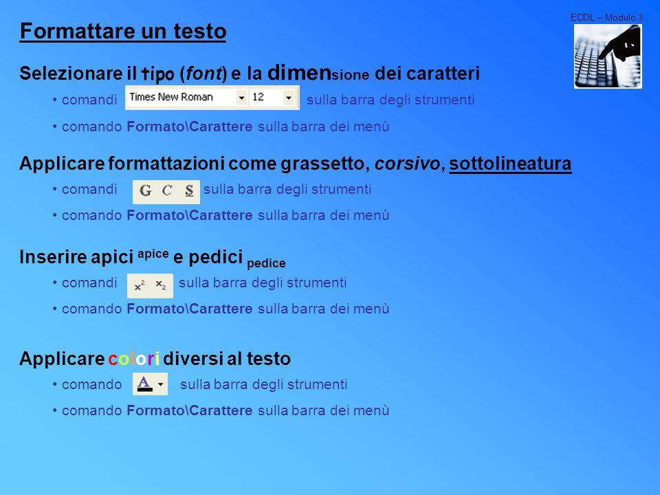 ECDL – Modulo 3Formattare un testo. Selezionare il tipo (font) e la dimensione dei caratteri.