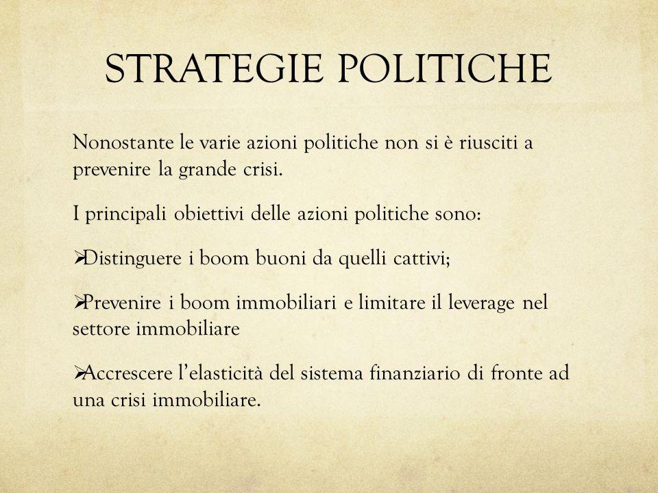 STRATEGIE POLITICHE Nonostante le varie azioni politiche non si è riusciti a prevenire la grande crisi.