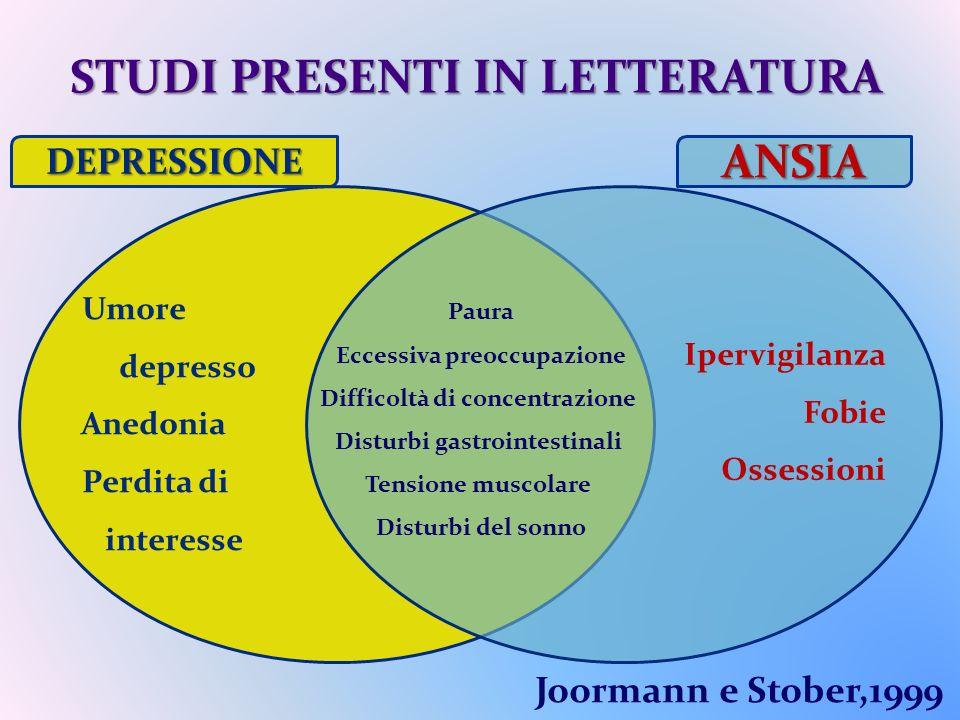 STUDI PRESENTI IN LETTERATURA ANSIA