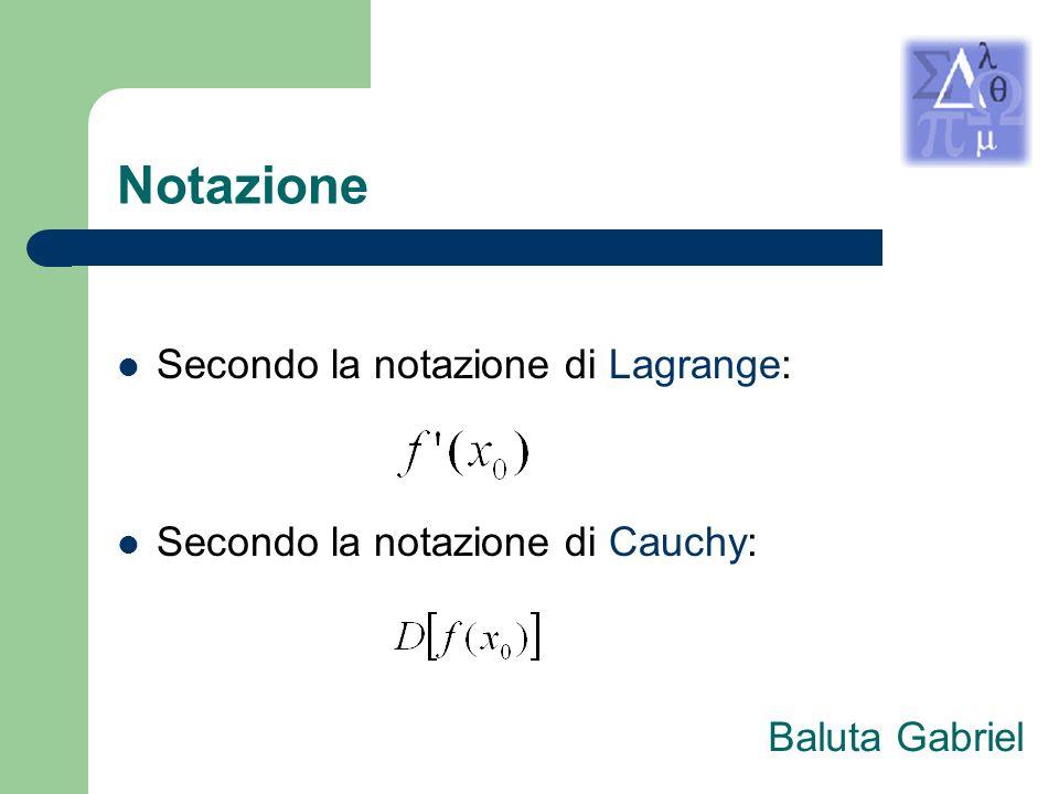 Notazione Secondo la notazione di Lagrange: