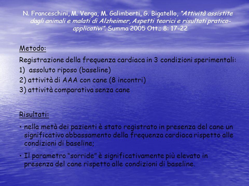 Registrazione della frequenza cardiaca in 3 condizioni sperimentali: