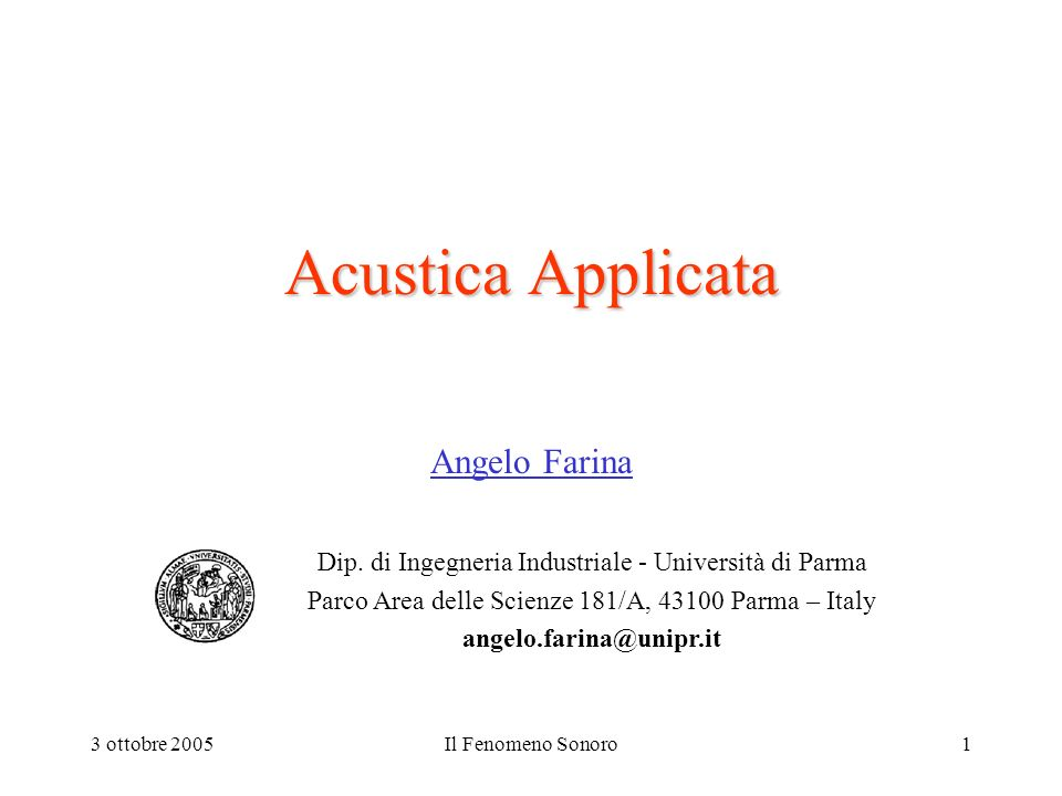 Acustica Applicata Angelo Farina
