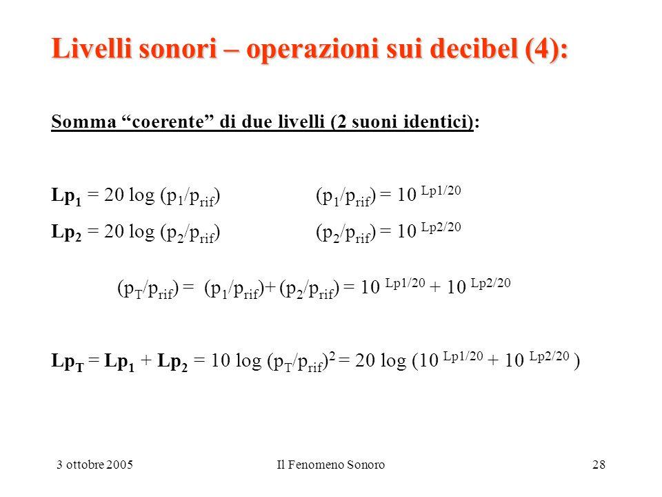 Livelli sonori – operazioni sui decibel (4):