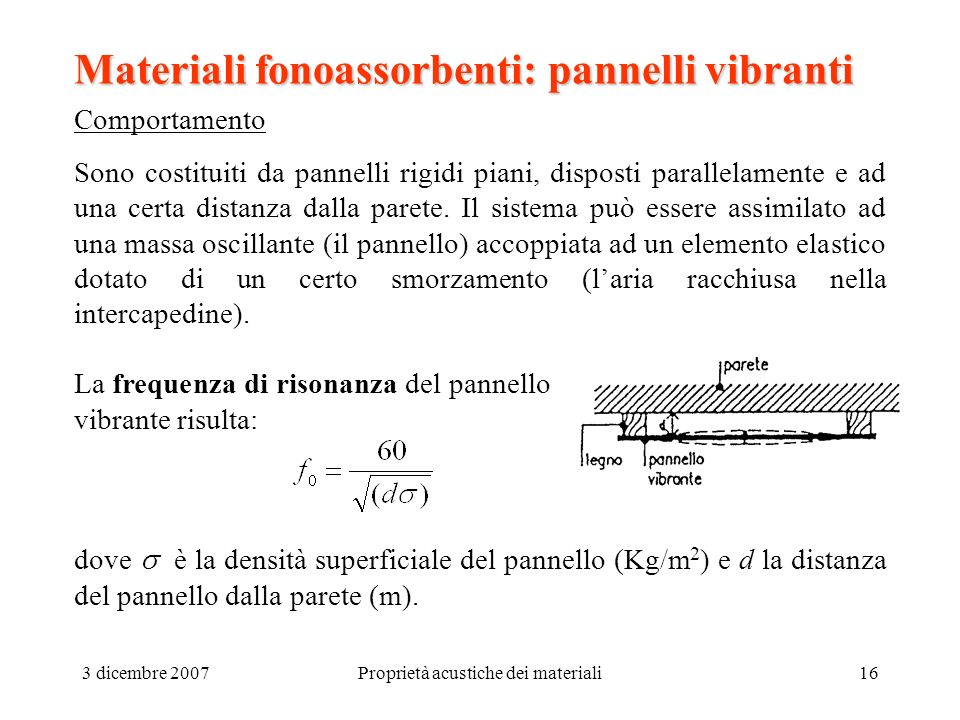 Caratteristiche acustiche dei materiali ppt video online for Piani di coperta e lista dei materiali