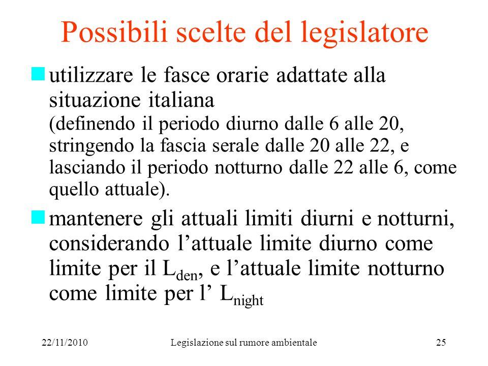 Possibili scelte del legislatore