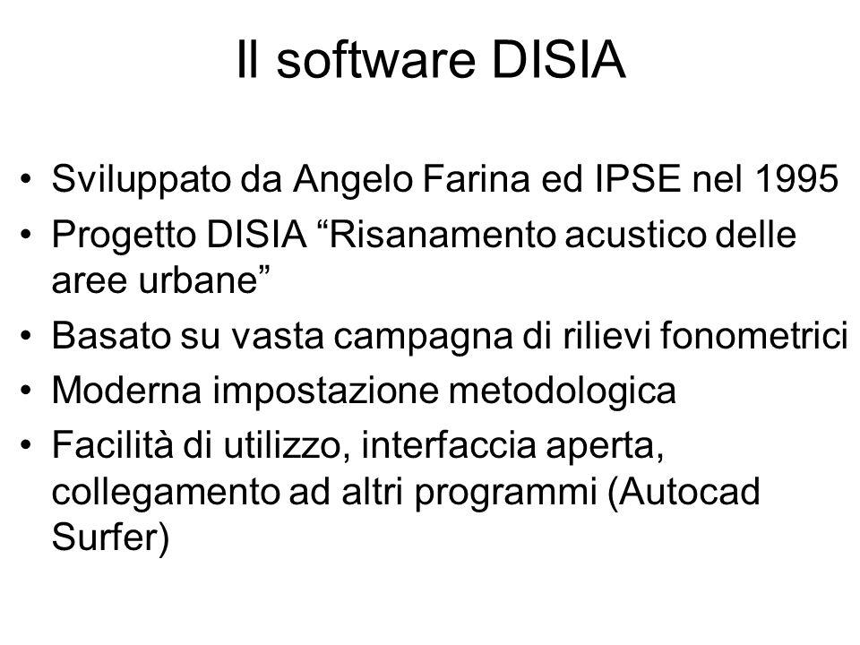 Il software DISIA Sviluppato da Angelo Farina ed IPSE nel 1995
