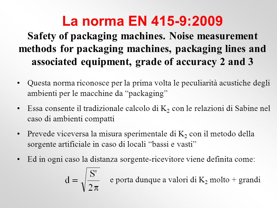 La norma EN 415-9:2009 Safety of packaging machines