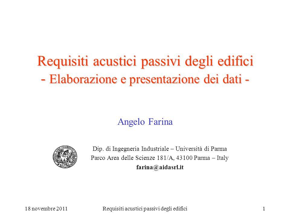 09/13/2003 Requisiti acustici passivi degli edifici - Elaborazione e presentazione dei dati - Angelo Farina.
