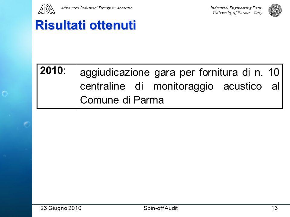 Risultati ottenuti 2010: aggiudicazione gara per fornitura di n. 10 centraline di monitoraggio acustico al Comune di Parma.