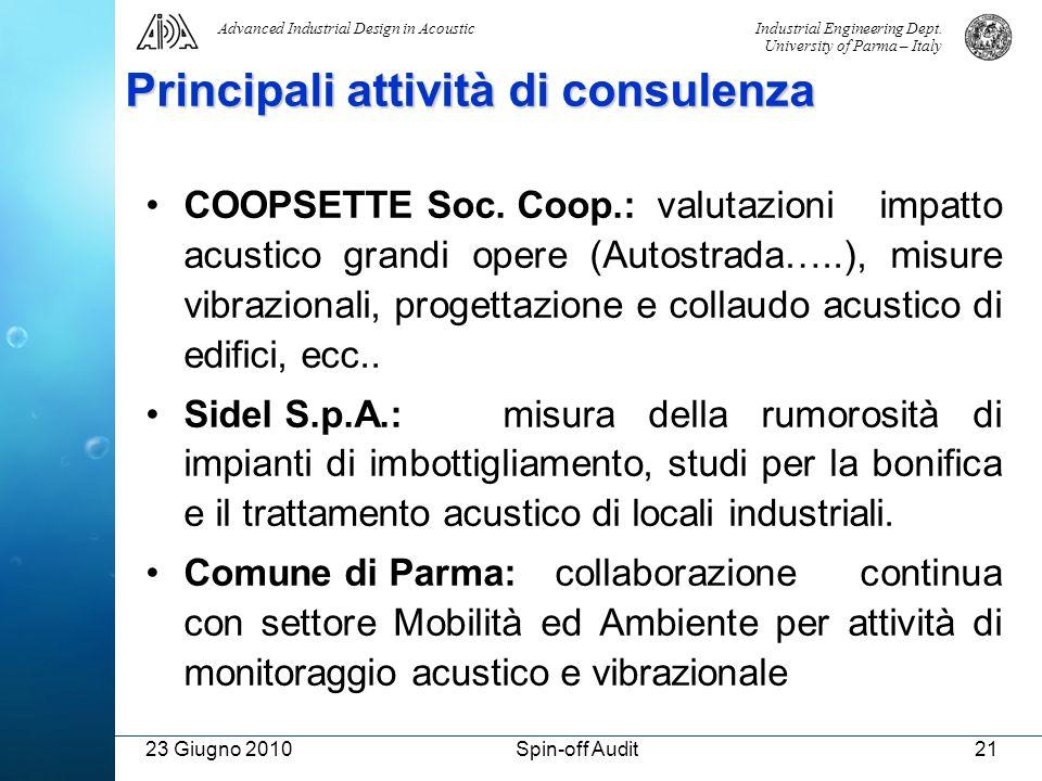 Principali attività di consulenza