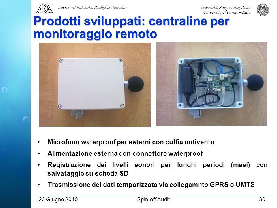 Prodotti sviluppati: centraline per monitoraggio remoto