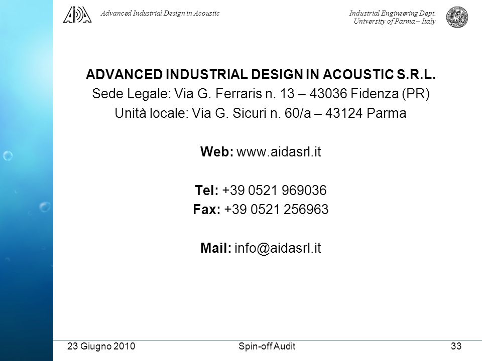 ADVANCED INDUSTRIAL DESIGN IN ACOUSTIC S.R.L.