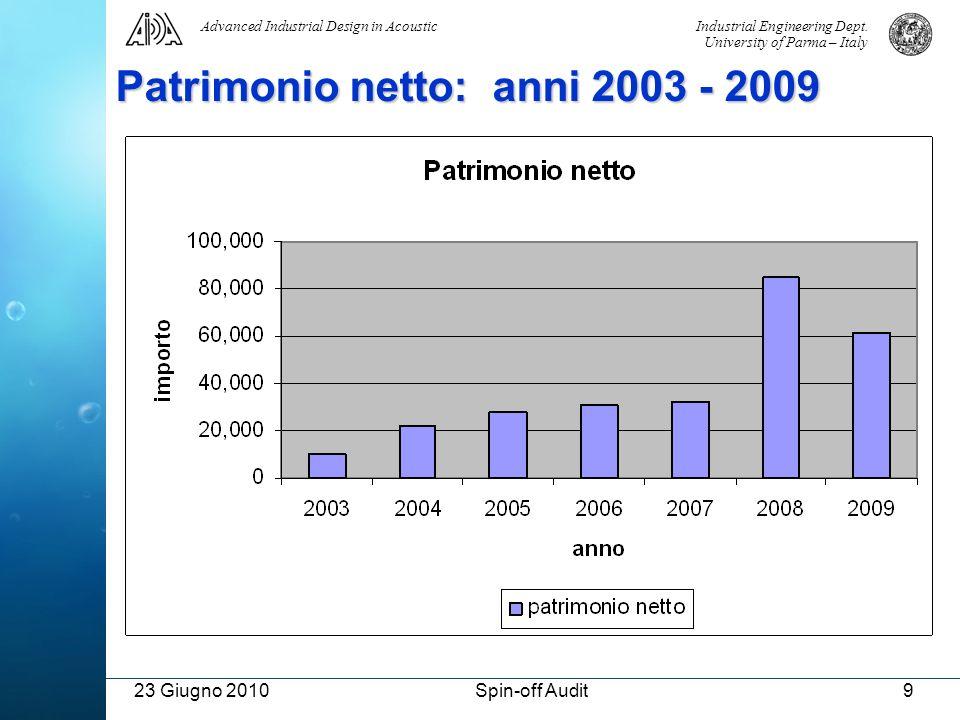 Patrimonio netto: anni 2003 - 2009