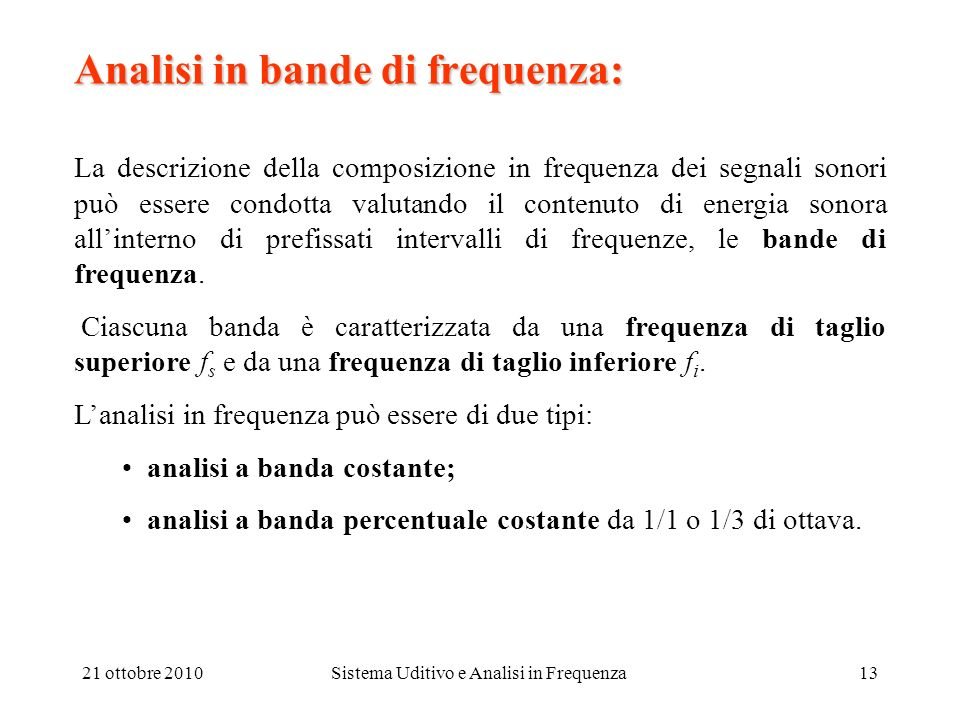 Analisi in bande di frequenza: