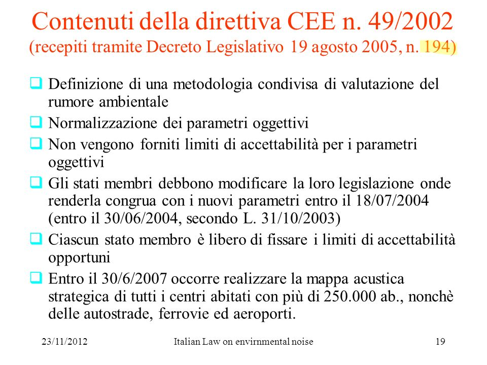 Italian Law on envirnmental noise