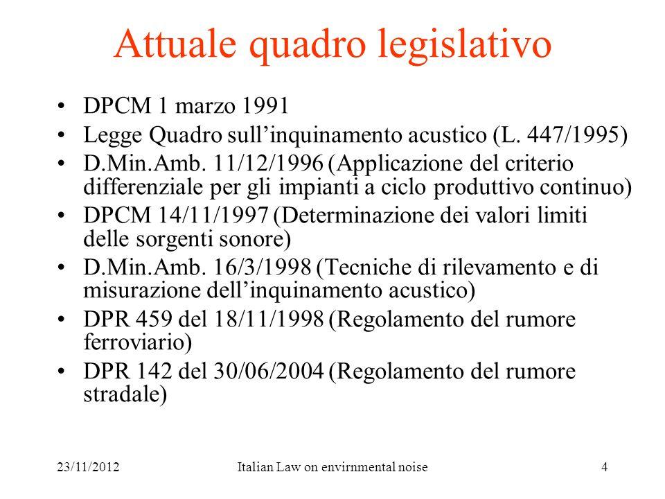Attuale quadro legislativo