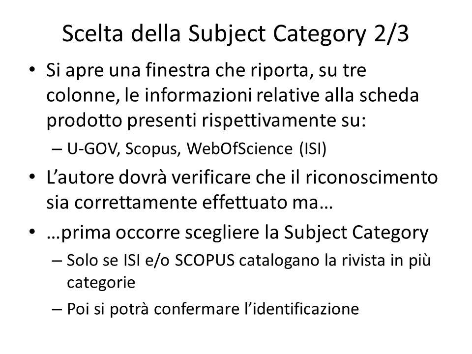 Scelta della Subject Category 2/3