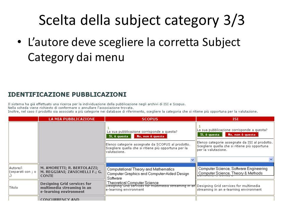 Scelta della subject category 3/3