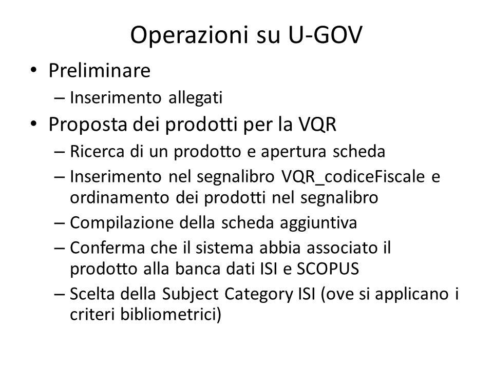 Operazioni su U-GOV Preliminare Proposta dei prodotti per la VQR