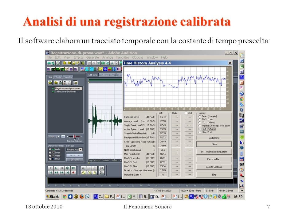 Analisi di una registrazione calibrata