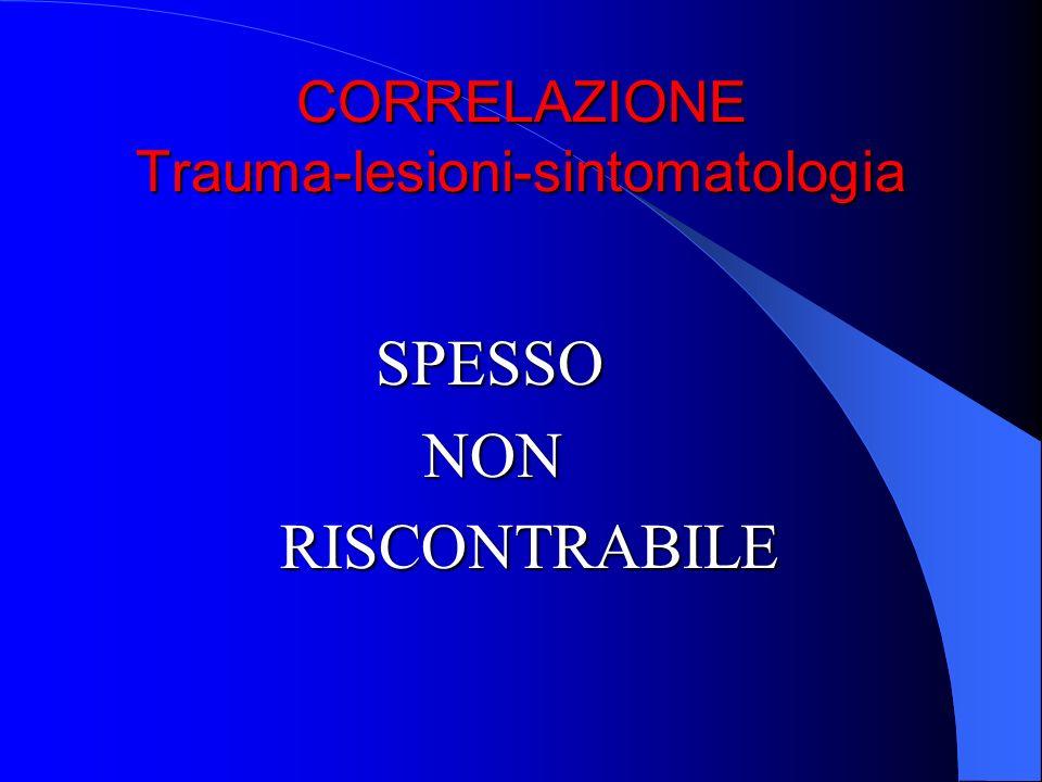 CORRELAZIONE Trauma-lesioni-sintomatologia