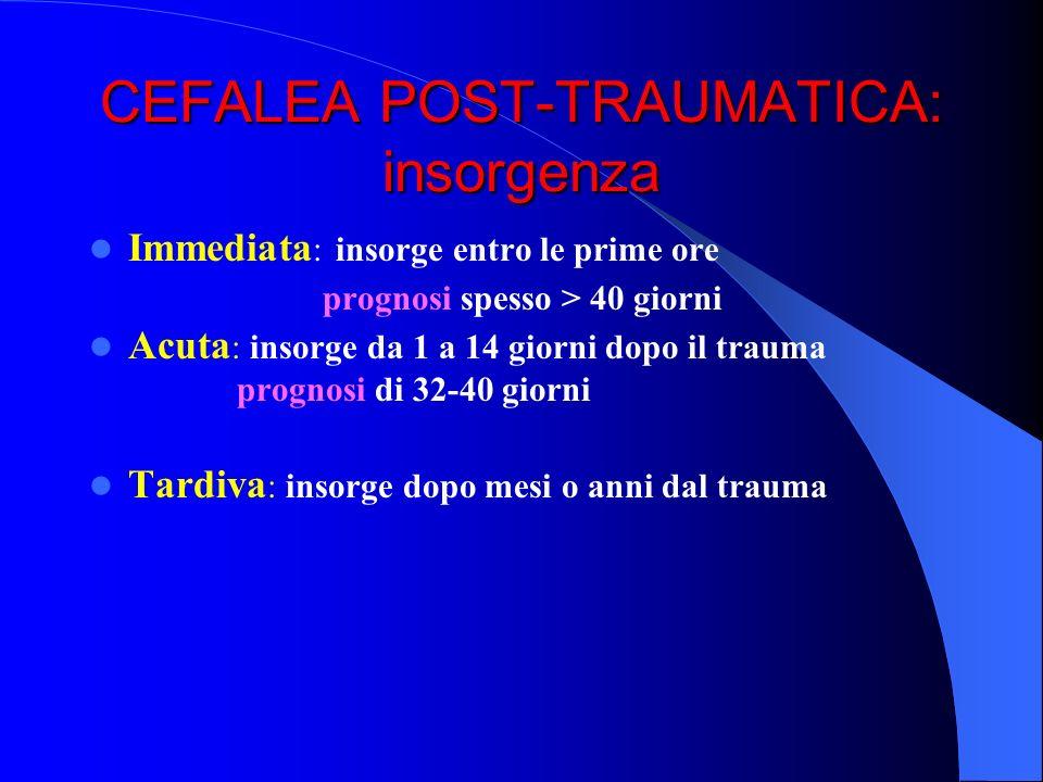 CEFALEA POST-TRAUMATICA: insorgenza