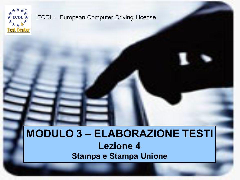 MODULO 3 – ELABORAZIONE TESTI