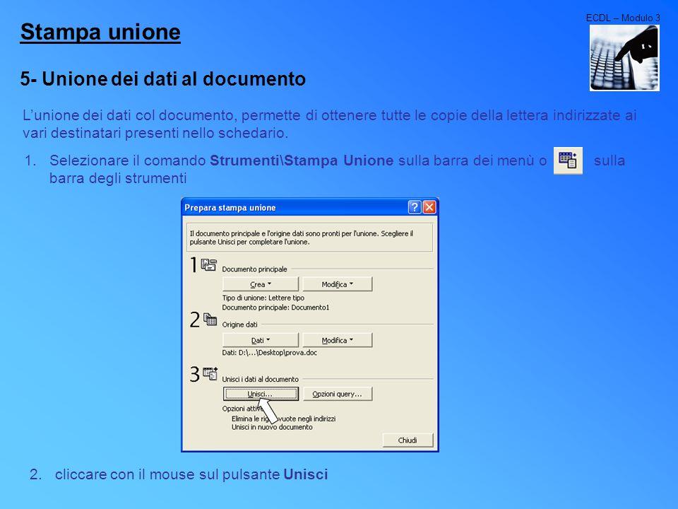 Stampa unione 5- Unione dei dati al documento