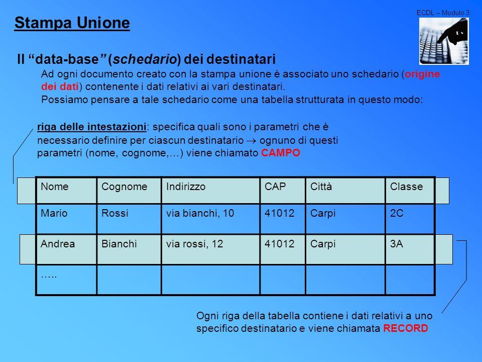Stampa Unione Il data-base (schedario) dei destinatari
