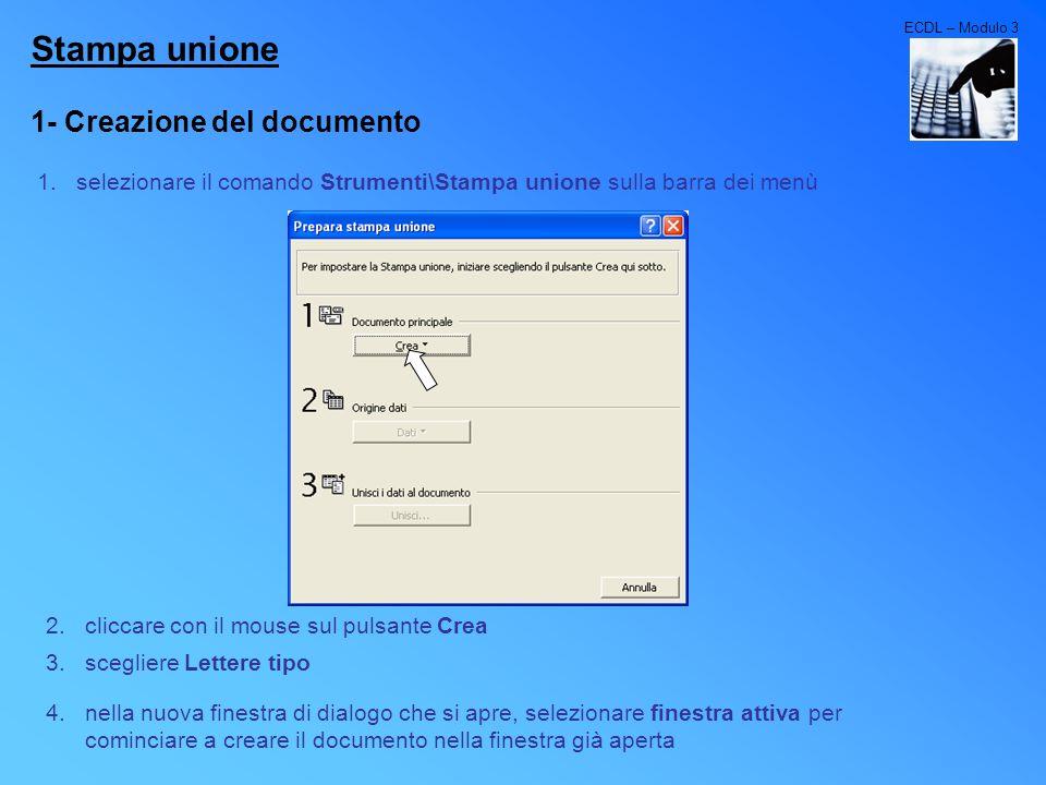 Stampa unione 1- Creazione del documento