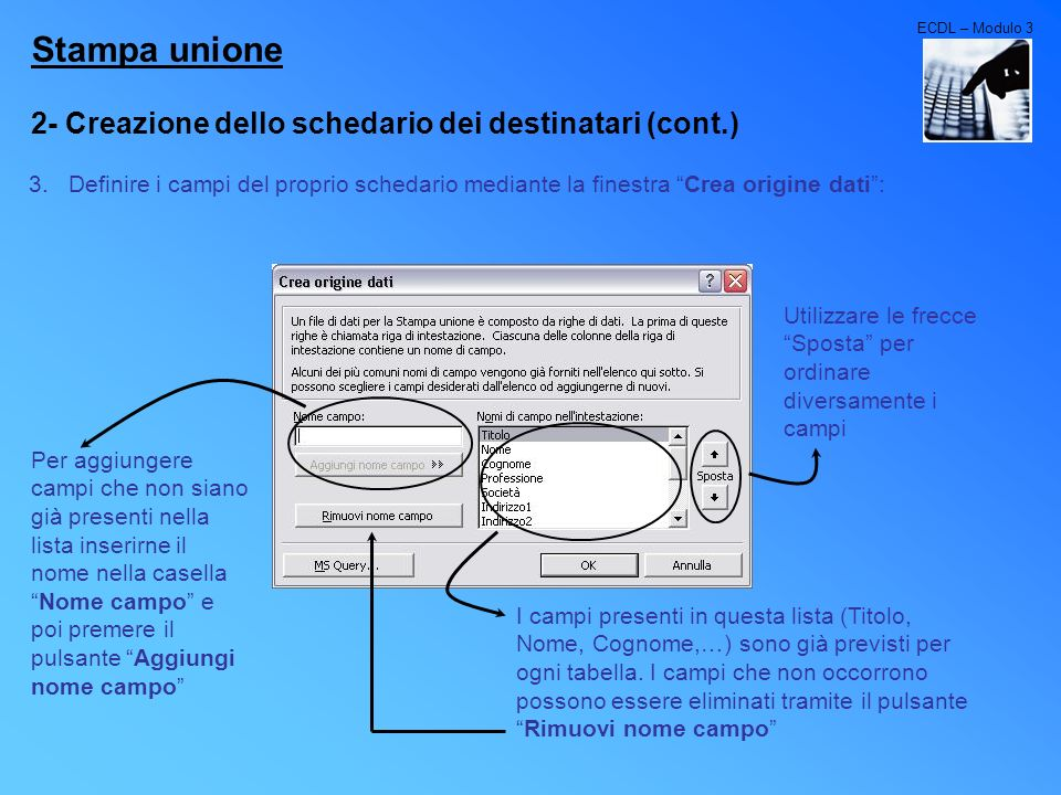 Stampa unione 2- Creazione dello schedario dei destinatari (cont.)