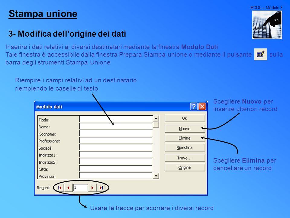 Stampa unione 3- Modifica dell'origine dei dati