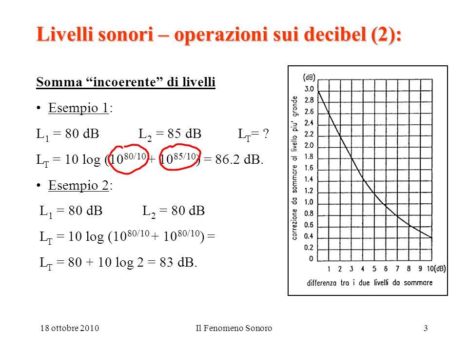 Livelli sonori – operazioni sui decibel (2):