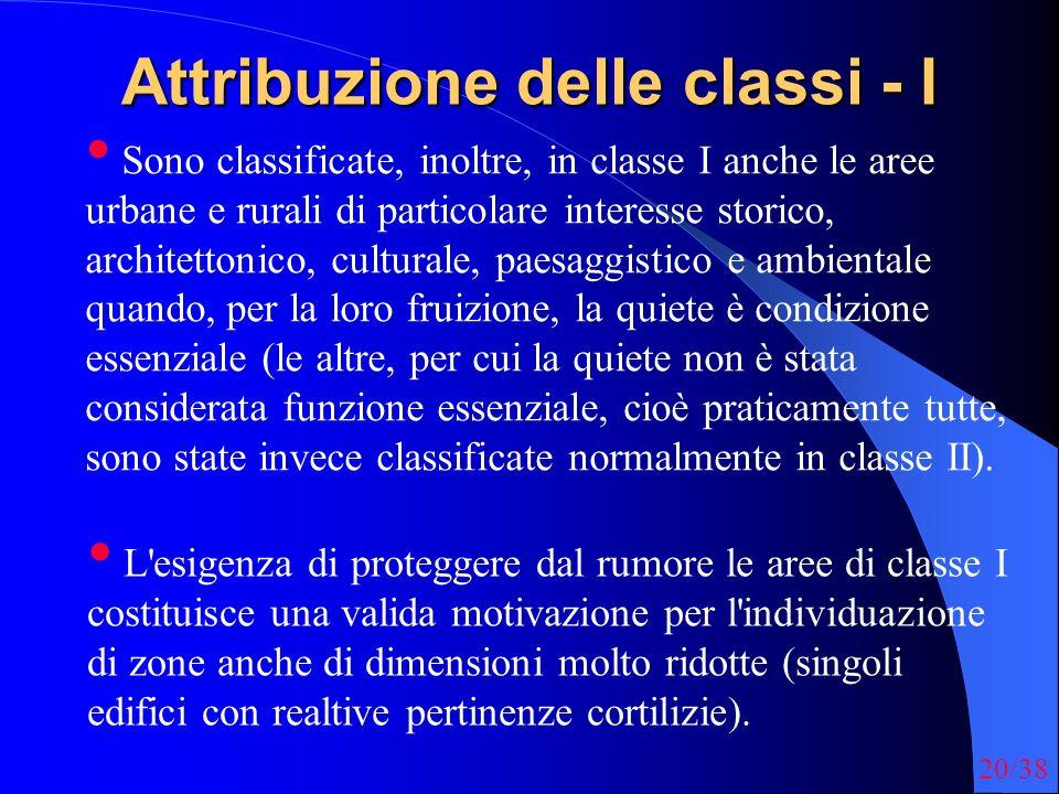 Attribuzione delle classi - I